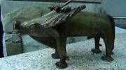 Antique 18c Asian Tribal Large Wild Bull Bronze Statue W/bird Sits On His Horn