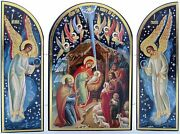 Wood Christmas Triptych - Russian Nativity Set Scene - Icon Of The Infant Jesus
