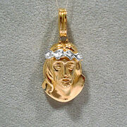 Solid 18k Yellow Gold And Diamonds Jesus Crown Of Thorns Pendant
