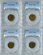 Collection Of 4 Scarce Pcgs Certified Early 1c Indian Head Cents Rare Coin