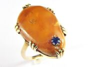 Unique Antique Victorian English 9k Gold Amber With Captive Sapphire Ring C1860