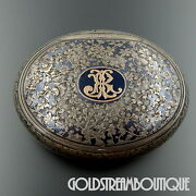 Antique 19th Century France Silver Gold Niello Floral Oval Monogrammed Snuff Box