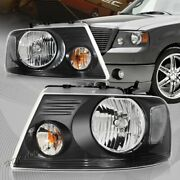 For Ford F-150/f150 Black Housing Clear Lens Headlights W/ Clear Reflector Lamps
