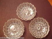 3 Rare Antique 19thc Flint Glass Sauce Dishes In The Scale And Eye Border