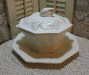 Vintage California Pottery White Soup Tureen Grape Pattern W/ Underplate