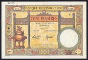 French Indo-china 100 Piastres P-51d 1936 - 1939 Xf