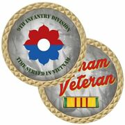 Army Vietnam Veteran Ribbon 9th Infantry Division Military 1.75 Challenge Coin