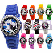 Cute Love Heart Silicone Rubber Watch With Ice Crystal Bezel Brand New Tokyo168
