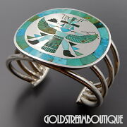 Harlan Coonsis Zuni Sterling Silver Turquoise Inlay Knifewing Wide Cuff Bracelet