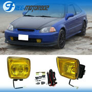For 1996-1998 1997 Honda Civic Yellow Bumper Fog Lights With Switch