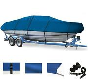 Blue Great Quality Boat Cover For V-hull Runabouts 22and039-24and039 L 102 Beam
