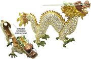 Dragon Zodiac, Gold Jeweled Trinket Box With Crystals, By Rucinni