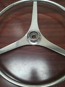 Helm Wheel 21 Stainless Steel 3 Flat Spokes No Center Cap/cover