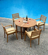 5-piece Outdoor Teak Dining Set 48 Butterfly Table 4 Stacking Arm Chairs Trav