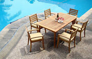 7-piece Outdoor Teak Dining Set 94 Rectangle Table, 6 Stacking Arm Chairs Trav