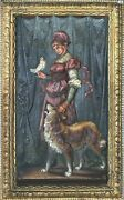 Antique 1823 Bradley And Hubbard Marked Bandh Colored Bronze Lady W/ Dog Plaque