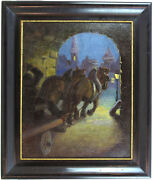 Antique Early 1900's Original Oil/canvas Painting Horses Illegibly Signed Qqoo