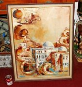 Vintage Muslim Jewish Middle Eastern Painting Signed Mosques Buildings Abstract