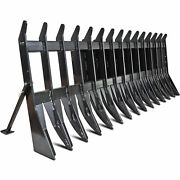 84 Root Clearing Rake Debris Silage Rock Skid Steer Tractor Loader Attachment