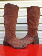 Frye Womens Elena Tall Suede Riding Western Pull On Boots Brown Size 7 New 378
