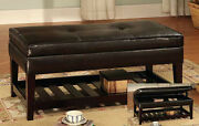 17and039and039h Antique Looking Leather Top Bench With Storage And Shelf - Espresso-asdi
