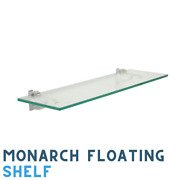 12 X 18 Inch Clear Tempered Floating Glass Shelf Kit - With Monarch Brackets