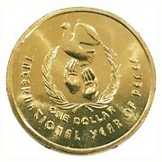 1986 Australia International Year Of Peace 1 One Dollar Uncirculated Mint Coin