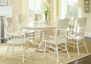 Antique Formal Oval Dining Table Arm And Side Chairs 7pc Dining Set White Wash