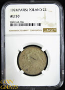 1924 Poland 2 Zlote Silver Coin Ngc Au50 Toned Paris Mint About Uncirculated