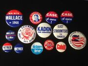 Vintage Collection Of 12 Political Campaign Pins Buttons Meyner Case Etc