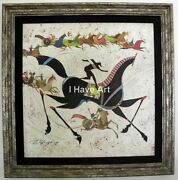 Horse-animals-oriental-giclee On Canvas-certificate Of Authenticity.-framed-art