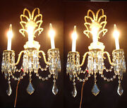 2 Rose Crown Vintage Gilt Bronze Brass Crystal Wall Lamps Sconces French Spain