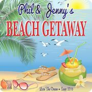 Personalized Beach House Sign With Tropical Drink, Flip Flops, Seashells