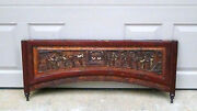 Antique 19c Chinese Rosewood Carved High Relief Gilt Wedding Bed Panel Element2