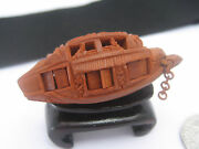 Asian Antique Chinese Miniature Carved Heidao Nut Seed Fishing Junk Boat China
