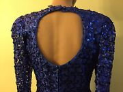 Martinique Fashion 70and039s/ 80and039s Vintage Sequin Royal Blue Formal Dress Ball Gown M