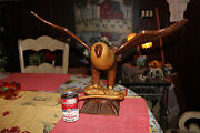 Vintage Austria Hand Carved Wood Eagle Spread Wings Clenching Snake-st. Hepp-lge