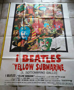 The Beatles Yellow Submarine Official Poster Italy 55x39 Extremely Rare