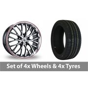 4 X 18 Bk Racing 861 Black Polished Alloy Wheel Rims And Tyres - 245/50/18