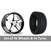 4 X 20 Bk Racing 677 Black Polished Alloy Wheel Rims And Tyres - 255/50/20