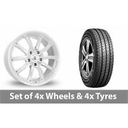 4 X 16 Bk Racing 201 White Polished Alloy Wheel Rims And Tyres - 215/75/16