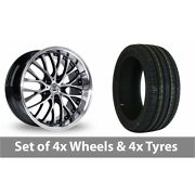 4 X 20 Bk Racing 861 Wp Black Polished Alloy Wheel Rims And Tyres - 245/40/20