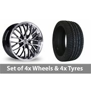 4 X 20 Bk Racing 861 Wp Black Polished Alloy Wheel Rims And Tyres - 295/40/20