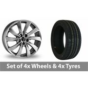 4 X 18 Wolfrace Lugano Shadow Chrome Alloy Wheel Rims And Tyres - 245/50/18