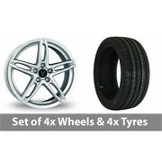 4 X 17 Wolfrace Poison Silver Alloy Wheel Rims And Tyres - 215/50/17