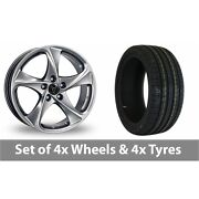 4 X 16 Wolfrace Catania Shadow Chrome Alloy Wheel Rims And Tyres - 225/50/16