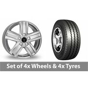 4 X 15 Wolfrace Tp5 Silver Alloy Wheel Rims And Tyres - 225/70/15