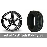 4 X 18 Wolfrace Quinto Black Polished Alloy Wheel Rims And Tyres - 235/50/18