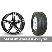 4 X 19 Wolfrace Quinto Black Polished Alloy Wheel Rims And Tyres - 255/50/19