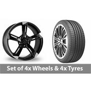 4 X 20 Wolfrace Genesis Black Polished Alloy Wheel Rims And Tyres - 275/35/20